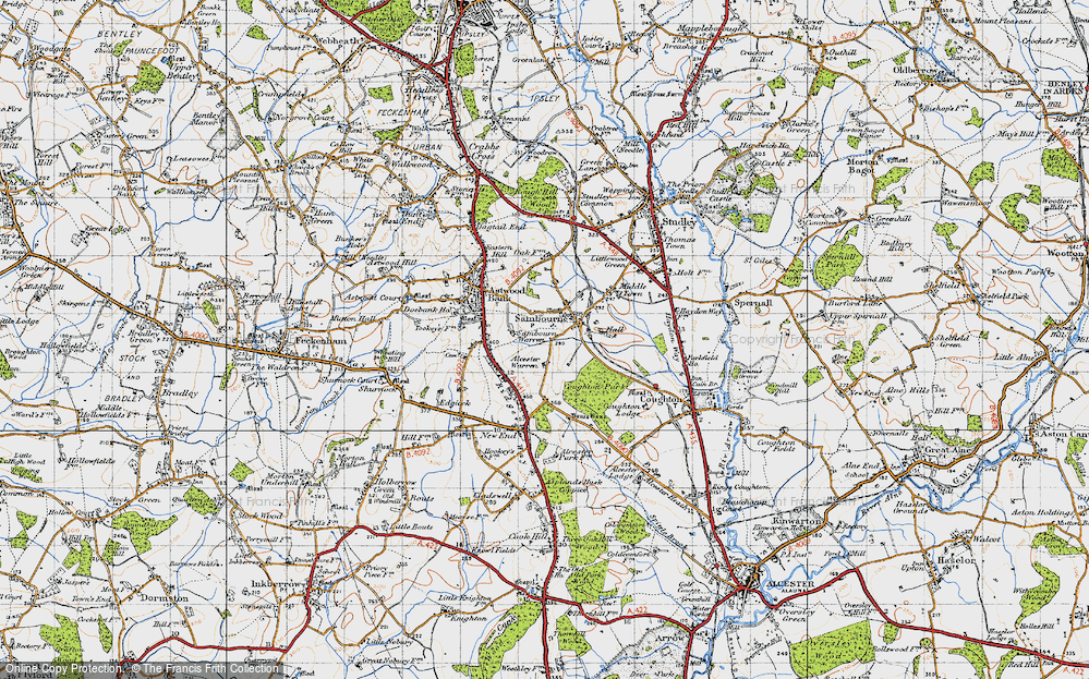 Old Map of Historic Map covering Alcester Warren in 1947