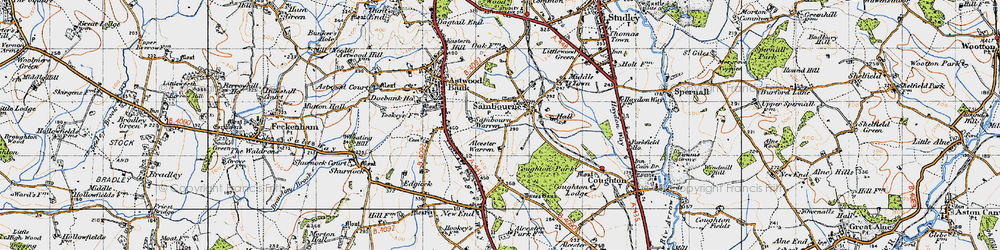 Old map of Alcester Warren in 1947