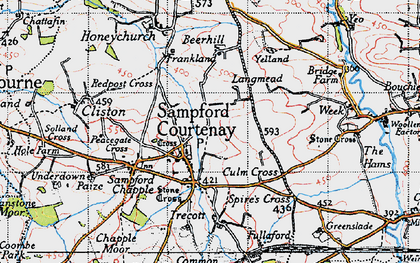 Old map of Langmead in 1946