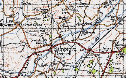 Old map of Sampford Peverell in 1946