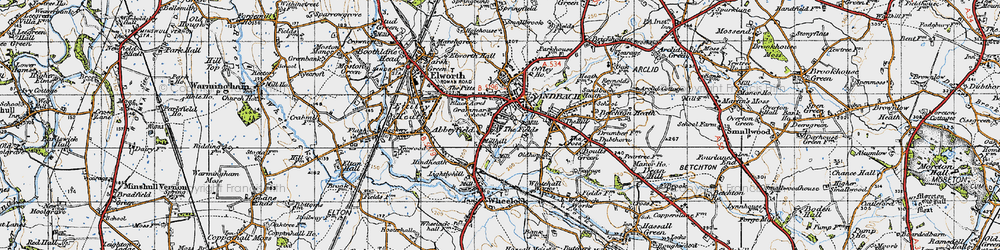 Old map of Sandbach in 1947