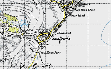 Old map of Brownsea Island in 1940