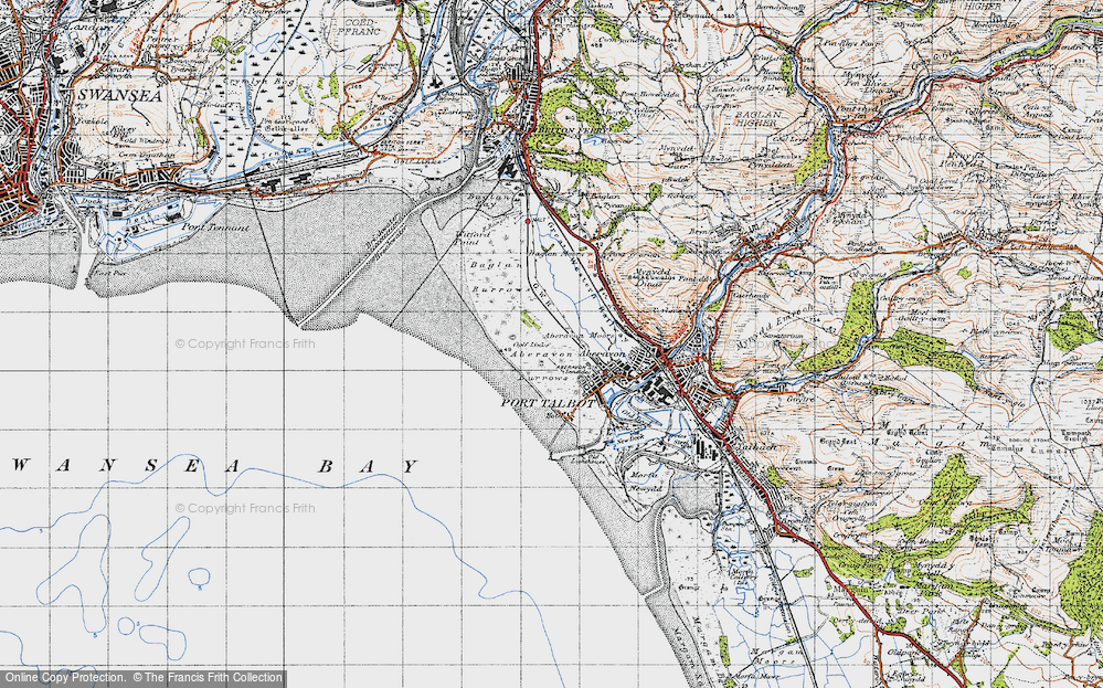 Old Map of Historic Map covering Aberavon Sands in 1947