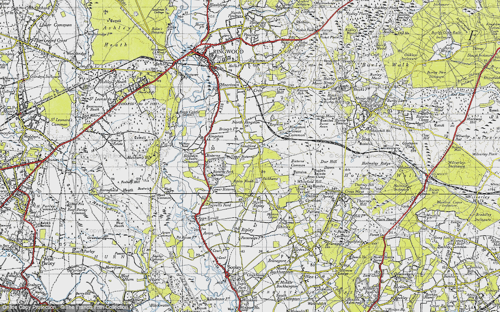 Old Map of Historic Map covering Avon Tyrrell in 1940