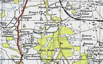 Old map of Avon Tyrrell in 1940