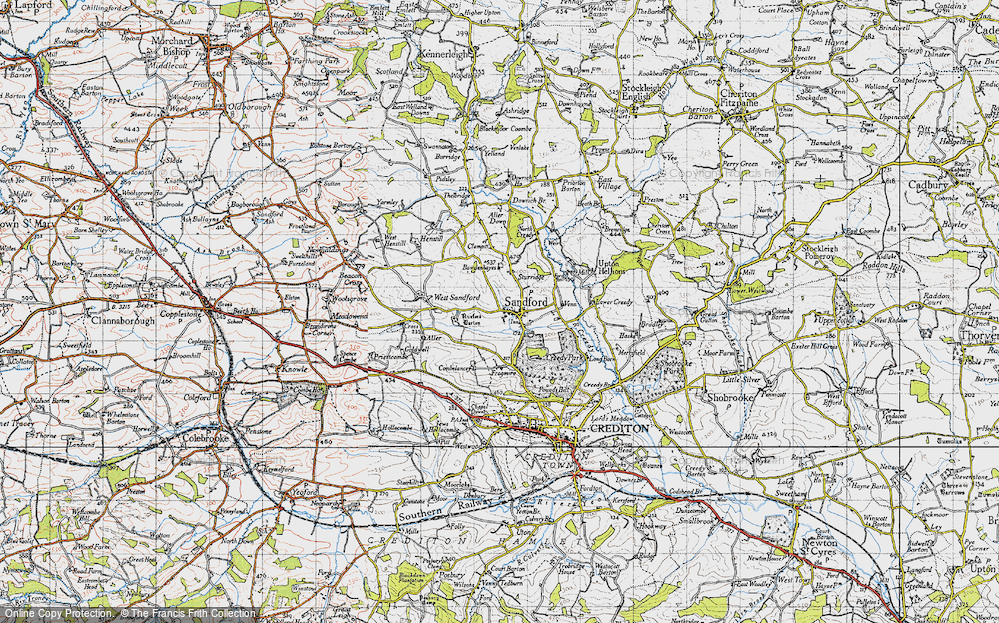 Old Map of Historic Map covering Aller Down in 1946