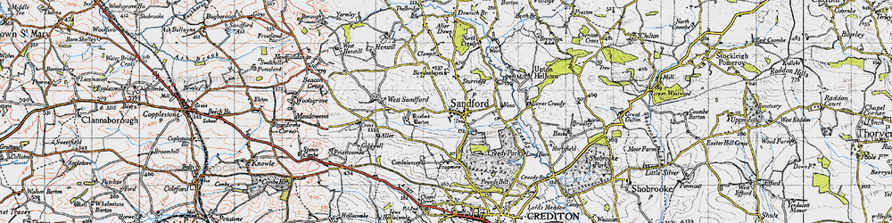 Old map of Aller Down in 1946