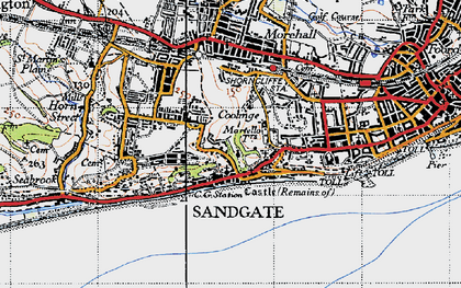 Old map of Sandgate in 1947