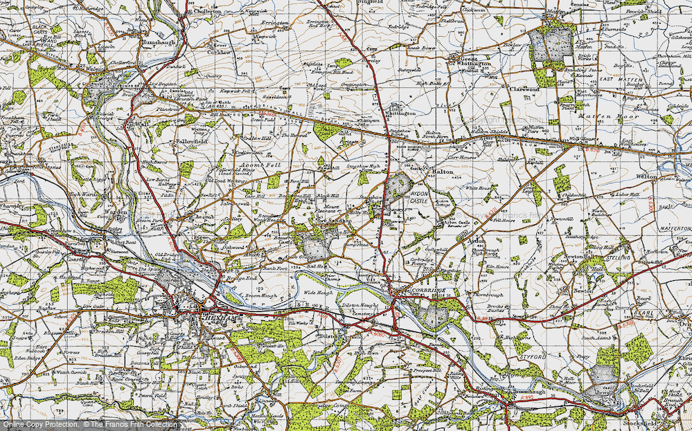 Old Map of Historic Map covering Acomb Fell in 1947