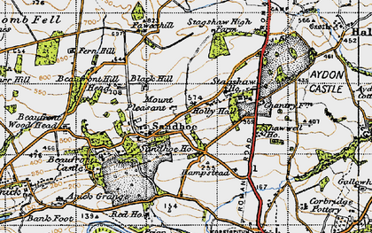 Old map of Acomb Fell in 1947