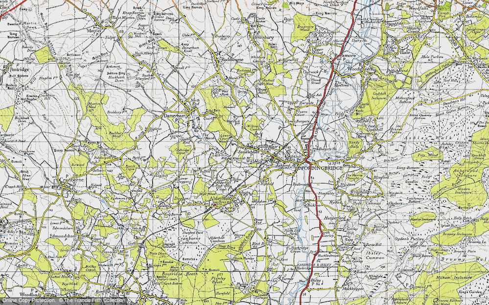 Old Map of Historic Map covering Ashford Water in 1940
