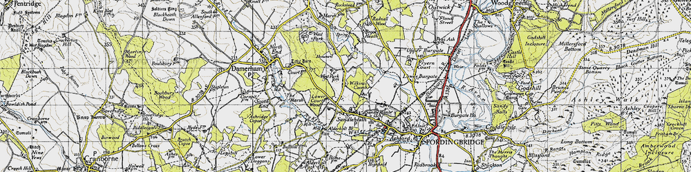 Old map of Wilkins's Coomb in 1940