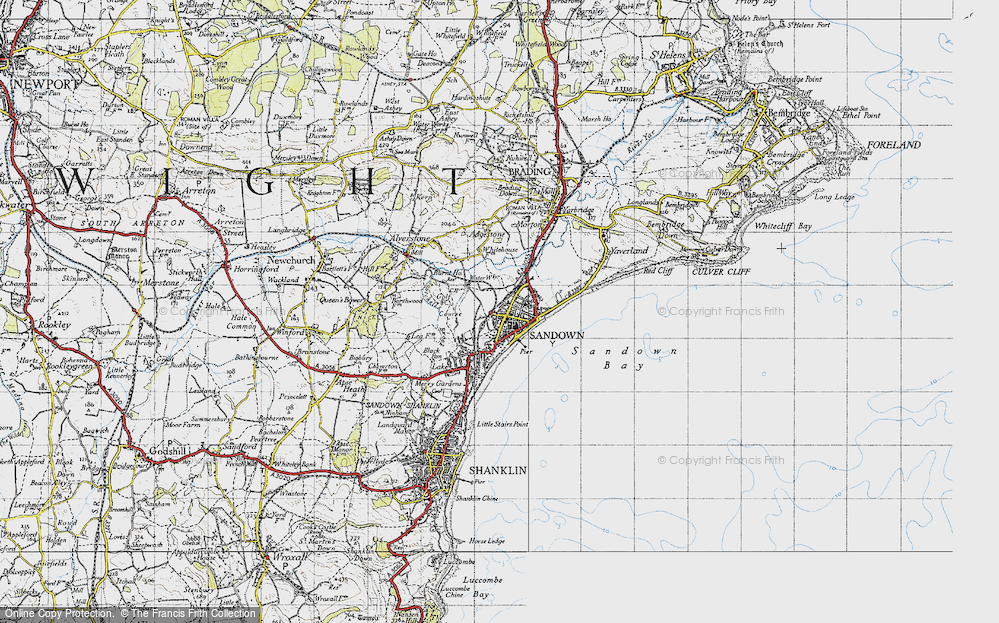 Old Map of Sandown, 1945 in 1945
