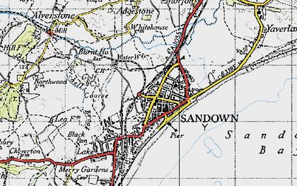 Old map of Sandown in 1945