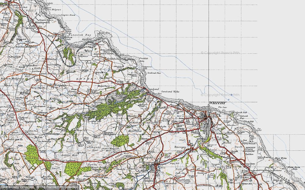 Old Map of Sandsend, 1947 in 1947