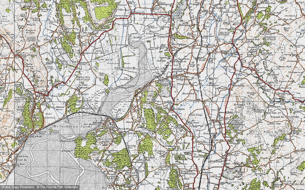 Old Map of Historic Map covering Wray Cott in 1947