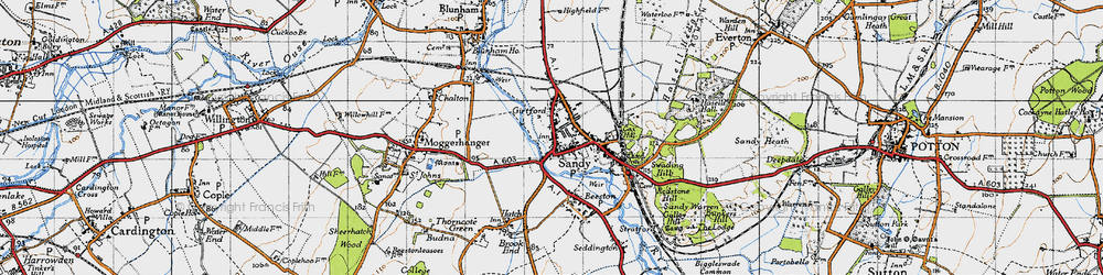 Old map of Sandy in 1946