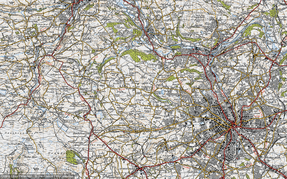 Old Map of Historic Map covering Bailey Fold in 1947