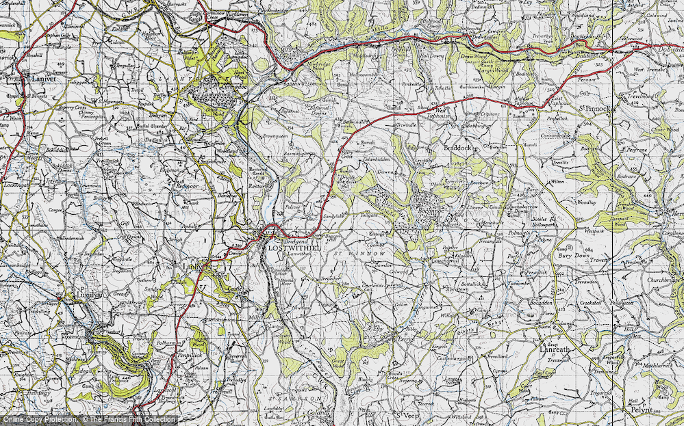 Old Map of Historic Map covering Tollgate in 1946