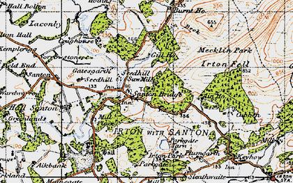 Old map of Santon Bridge in 1947
