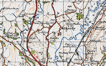 Old map of Ystlys-y-coed isaf in 1947