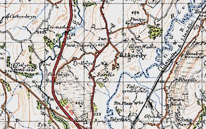 Old map of Ystlys-y-coed-uchaf in 1947