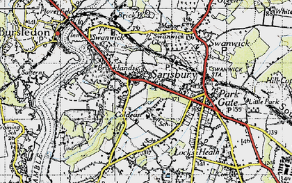 Old map of Sarisbury in 1945