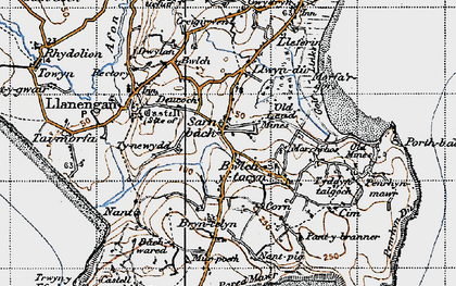 Old map of Sarn-bâch in 1947