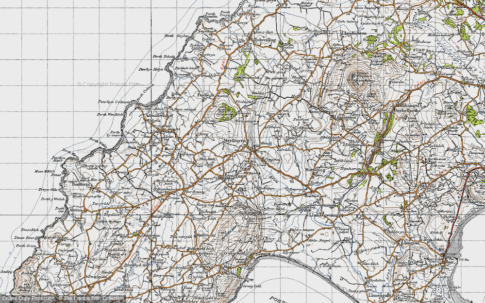 Old Map of Historic Map covering Afon Soch in 1947