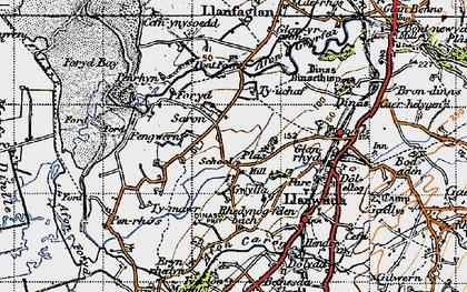 Old map of Afon Gwyrfai in 1947