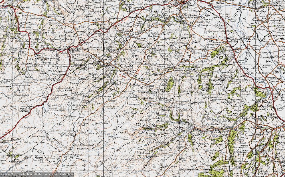 Old Map of Historic Map covering Afon Concwest in 1947