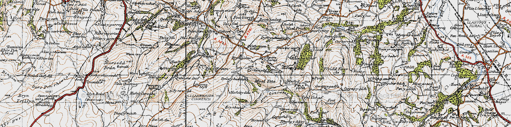 Old map of Afon Concwest in 1947