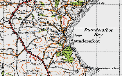 Old map of Saundersfoot in 1946