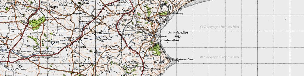 Old map of Saundersfoot in 1946