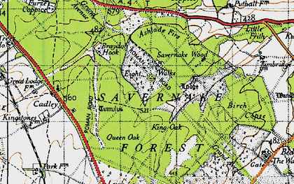 Old map of Savernake Forest in 1940