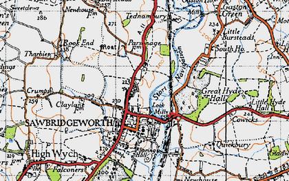 Old map of Sawbridgeworth in 1946
