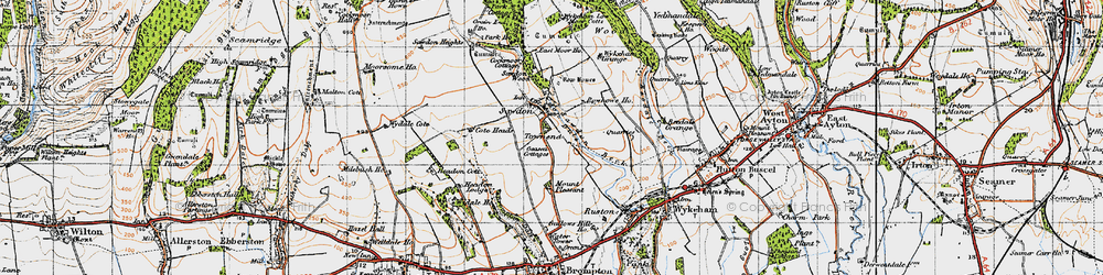 Old map of Wykeham Grange in 1947