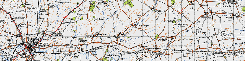 Old map of Saxby in 1946