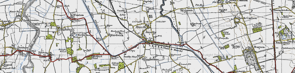 Old map of Saxilby in 1947