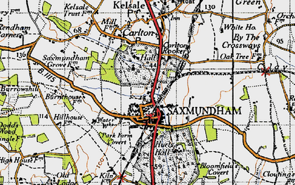 Old map of Saxmundham in 1946