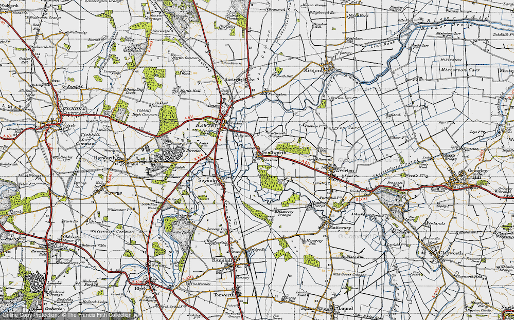 Old Map of Historic Map covering Ling's Wood in 1947