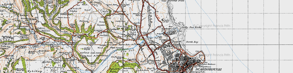 Old map of Scalby in 1947