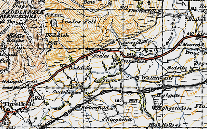 Old map of Bannerdale Crags in 1947
