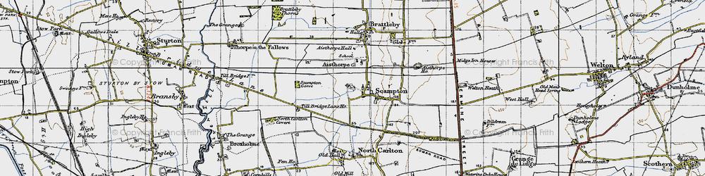 Old map of Till Bridge Lane Ho in 1947