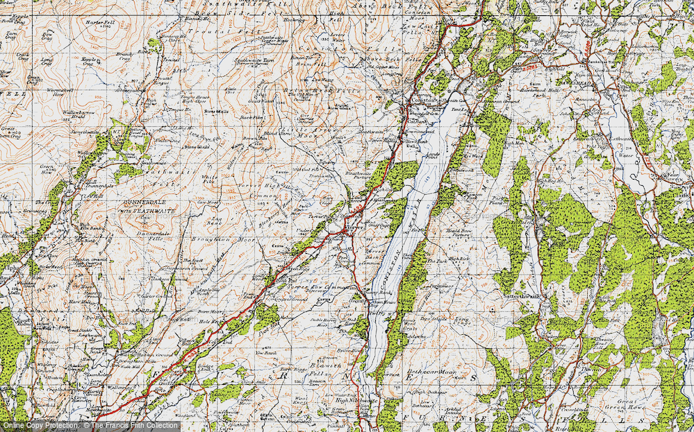 Old Map of Historic Map covering Ash Gill Beck in 1947