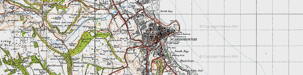 Old map of Scarborough in 1947