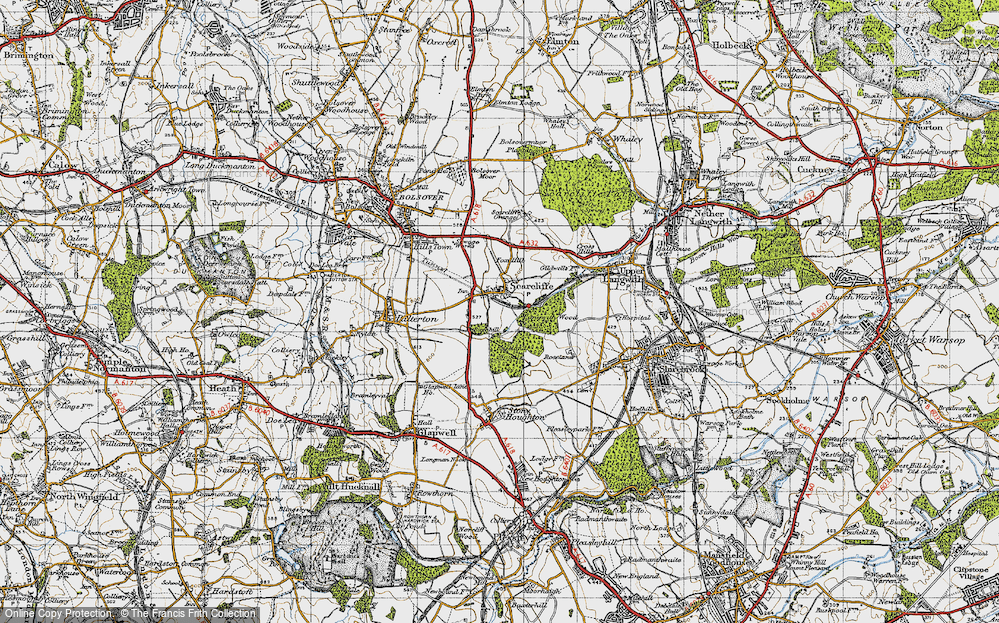 Old Map of Historic Map covering Langwith Wood in 1947