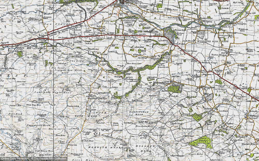 Old Map of Historic Map covering Woodclose Gill in 1947