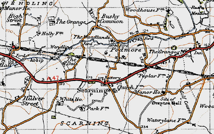 Old map of Scarning in 1946