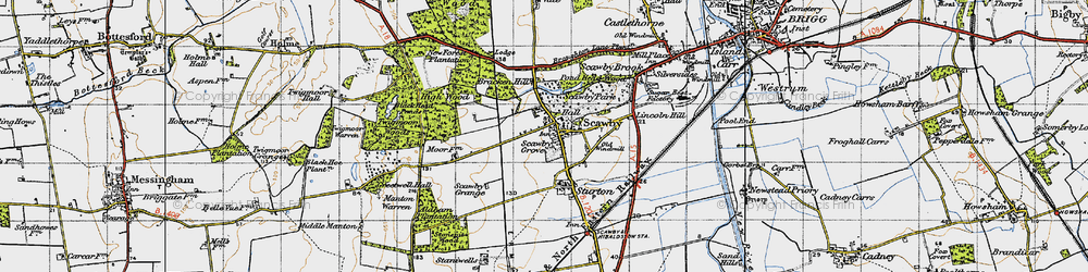 Old map of Scawby in 1947